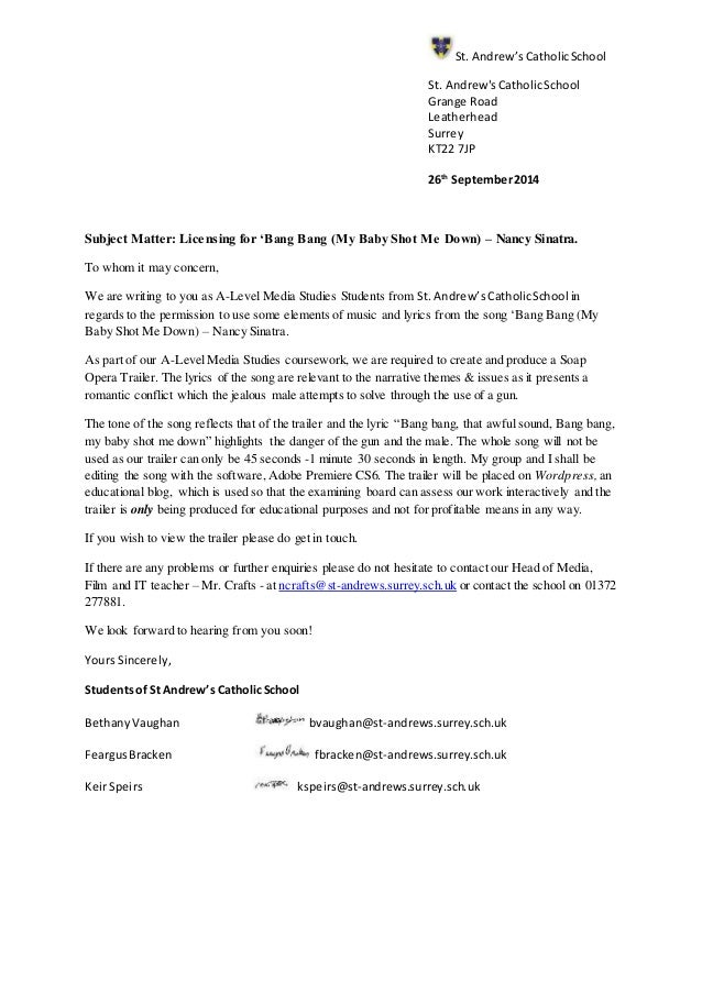 Lyric lyrics opera : Letter- Permission for Music