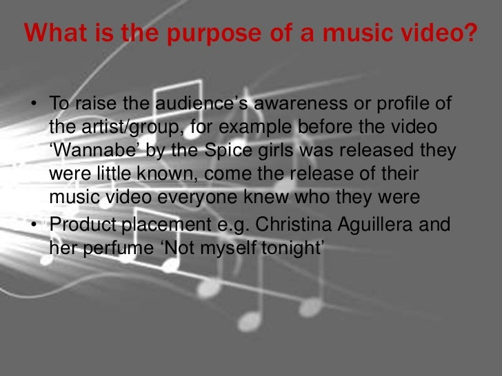 purpose of music videos essay Music therapy is the clinical and evidence-based use of music interventions to accomplish individualized goals within a therapeutic relationship by a credentialed professional who has completed an approved music therapy program.