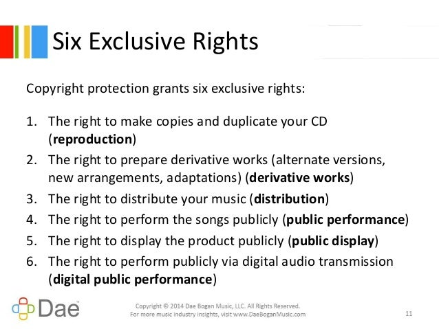 music publishing \u0026 copyright administration in the internet age Copyright Logo Right copyright protection grants six exclusive rights
