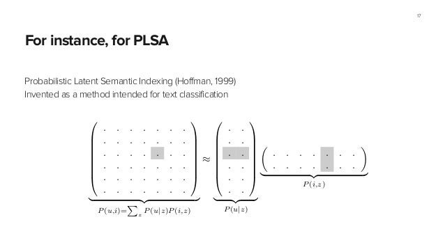 For instance, for PLSA Probabilistic Latent Semantic Indexing (Hoffman, 1999) Invented as a method intended for text class...