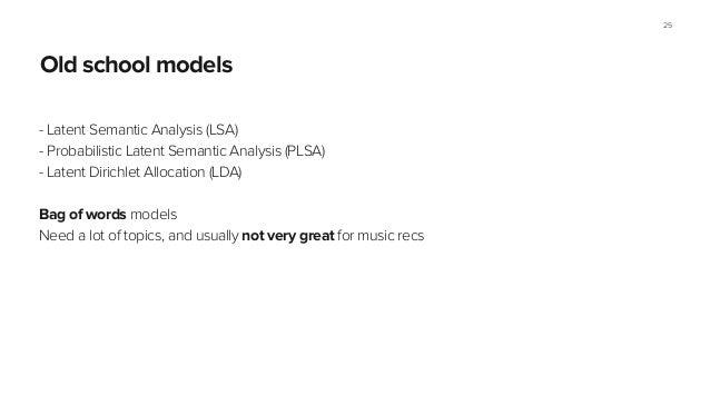 Section name Old school models - Latent Semantic Analysis (LSA) - Probabilistic Latent Semantic Analysis (PLSA) - Latent D...