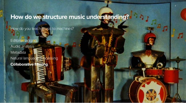 How do we structure music understanding? How do you teach music to machines? ! Editorial tagging Audio analysis Metadata N...