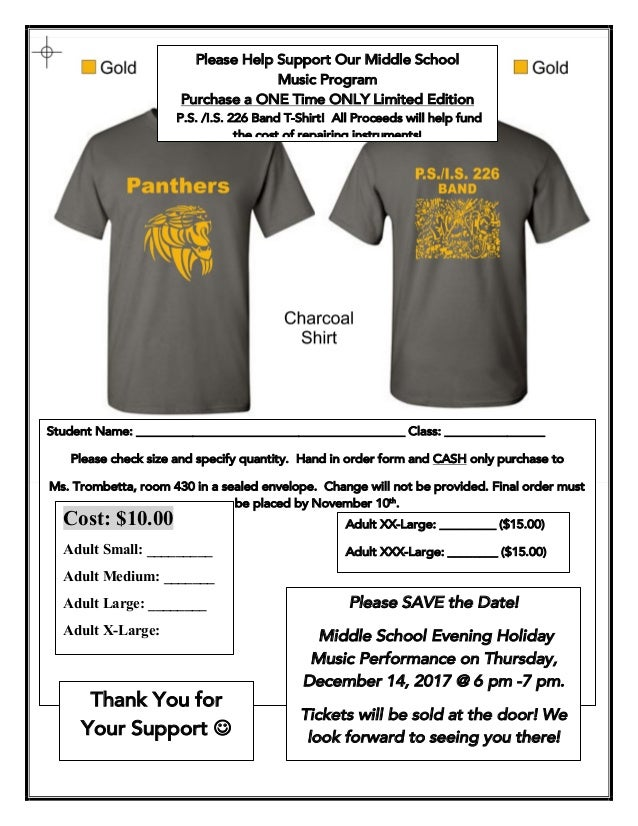 Please Help Support Our Middle School Music Program Purchase a ONE Time ONLY Limited Edition P.S. /I.S. 226 Band T-Shirt! ...