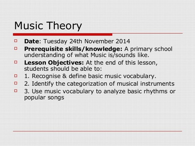 Music theory lesson plan