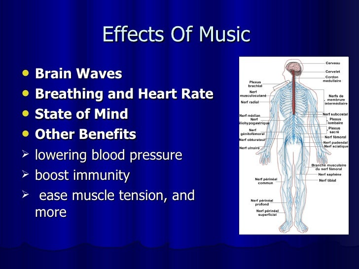 the effects of music in the mind How music affects the body  so as to produce the specific effects we want here are some of music's possible therapeutic uses:  to unify mind and body, music .