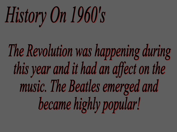 History On 1960s The