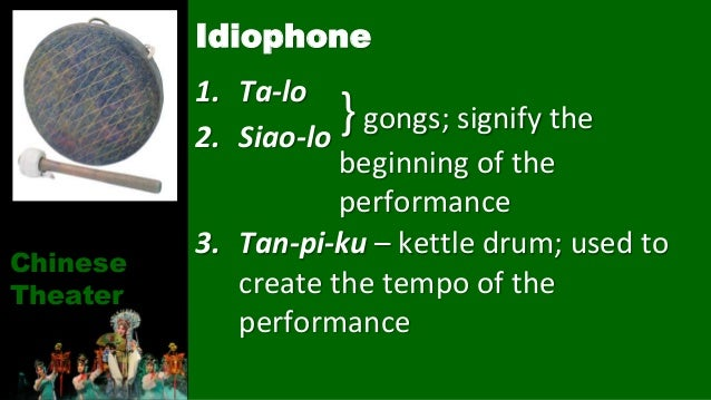 1. Ta-lo 2. Siao-lo 3. Tan-pi-ku – kettle drum; used to create the tempo of the performance Idiophone Chinese Theater }gon...