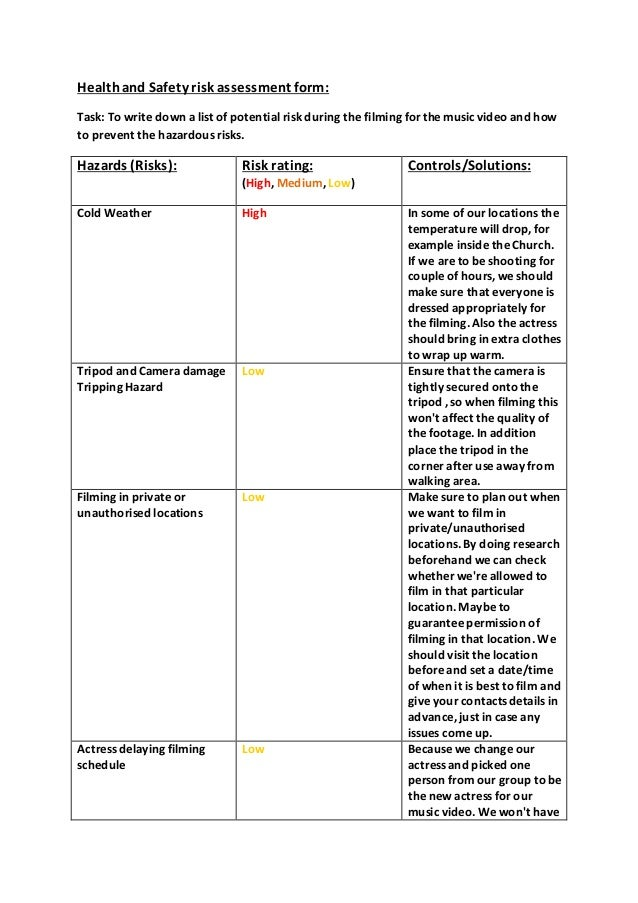 Healthand Safety Risk Assessment Form: Task: To Write Down A List Of  Potential Risk ...