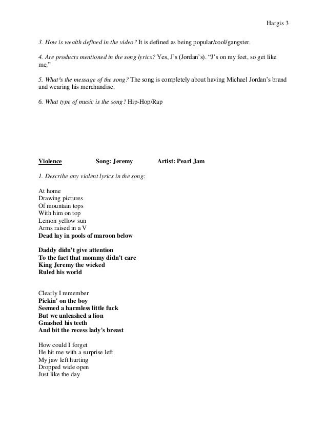 jeremy pearl jam essay Transcript of analysis of jeremy by pearl jam jeremy - pearl jam by jordan jones background information - the song was written by pearl jam for their debut album, ten in 1991 - it was the third single released from the album, and it became very popular basic information genre - grunge rock.