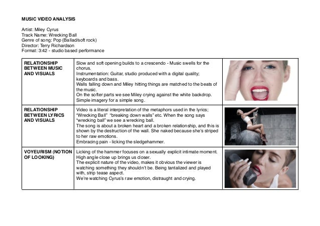 Music video analysis - Miley Cyrus Wrecking Ball