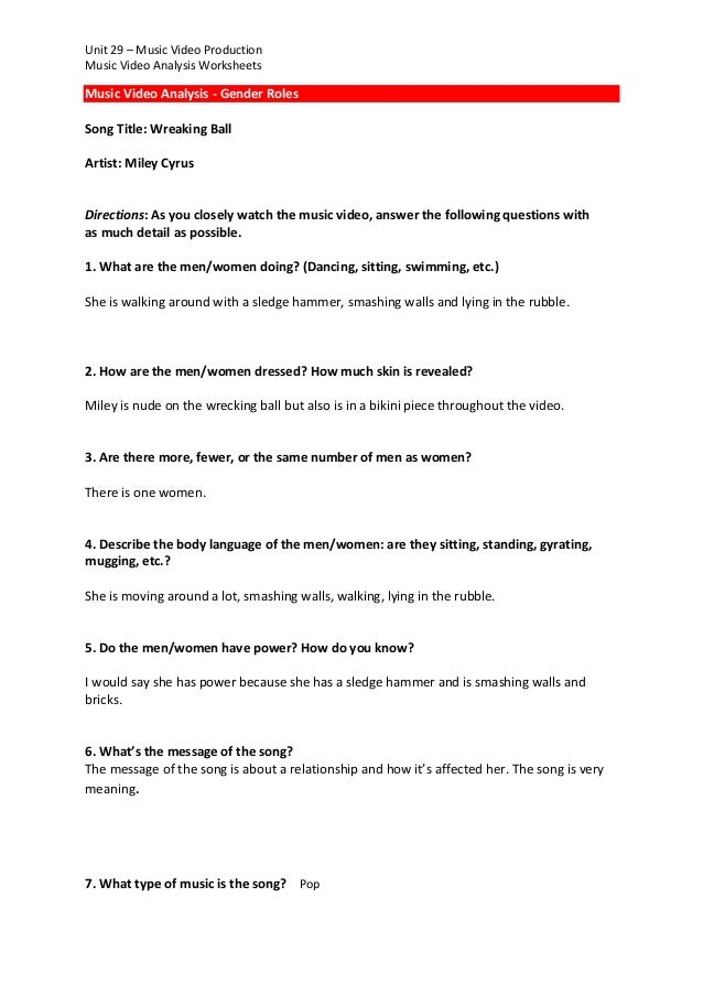 Music video analysis worksheet – Video Worksheets