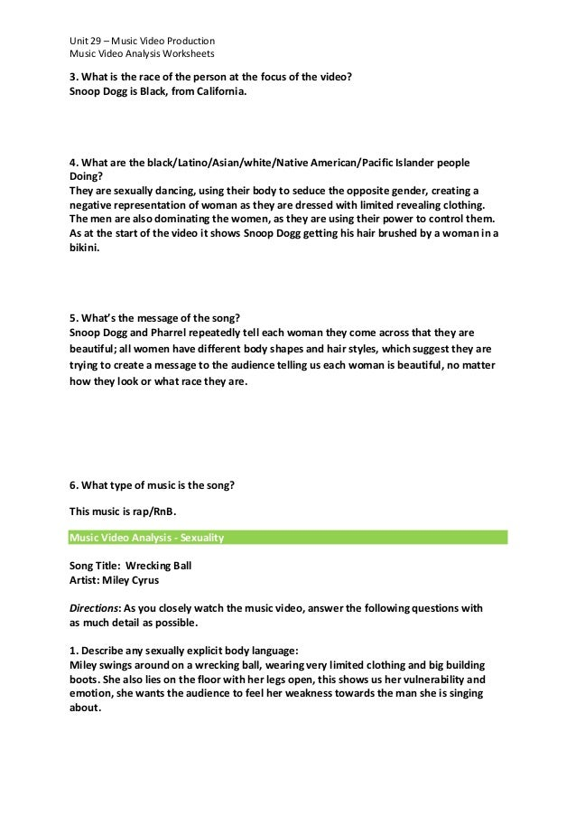 Music Video Analysis Worksheets Ms Word Version