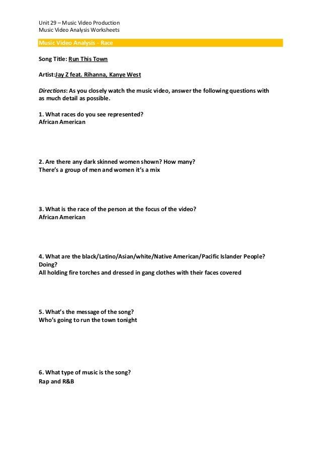Music video analysis worksheets