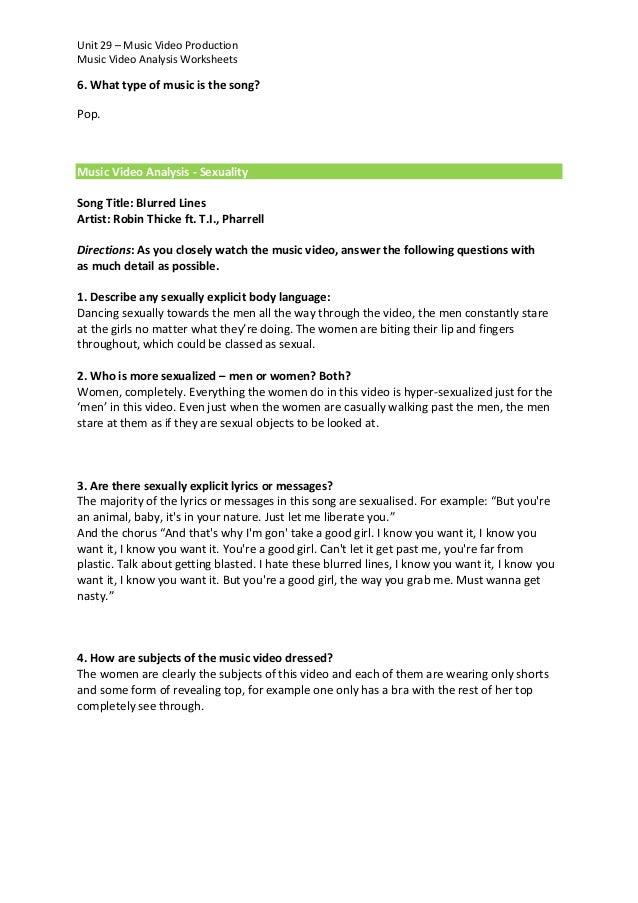 song analysis worksheet Termolak – Song Analysis Worksheet