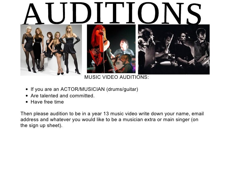 MUSIC VIDEO AUDITIONS:    • If you are an ACTOR/MUSICIAN (drums/guitar)   • Are talented and committed.   • Have free time...
