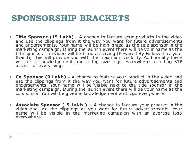 Music Video Sponsorship proposal – Sample of a Sponsorship Proposal