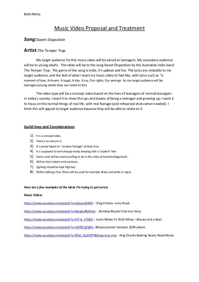 music video proposal and treatment