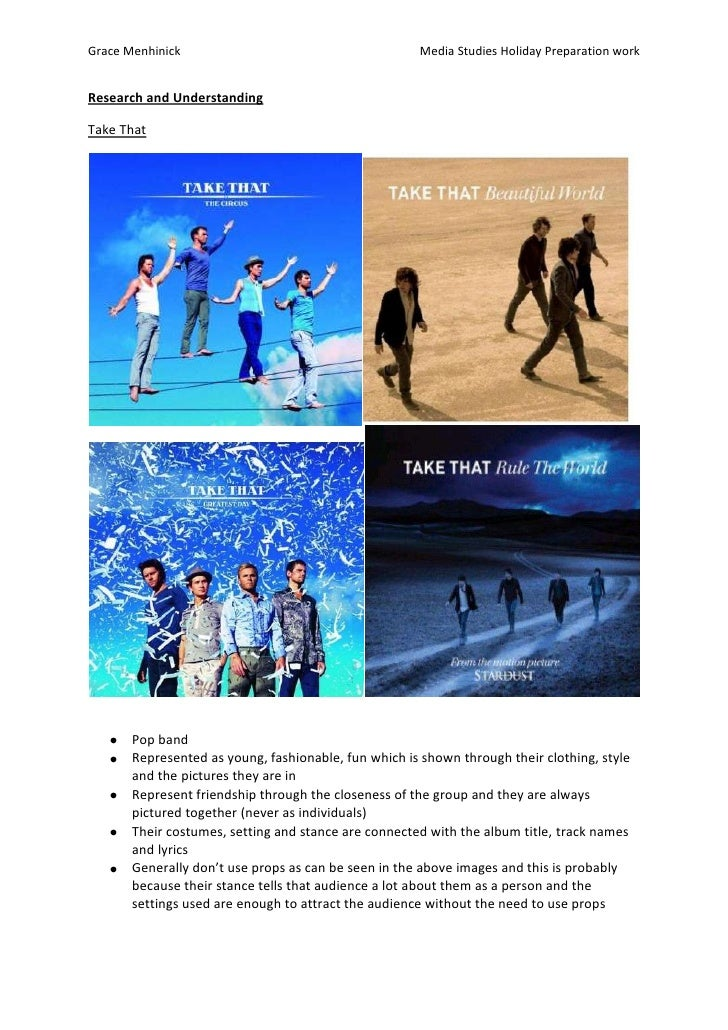 Research and Understanding<br />Take That <br />Pop band <br />Represented as young, fashionable, fun which is shown throu...