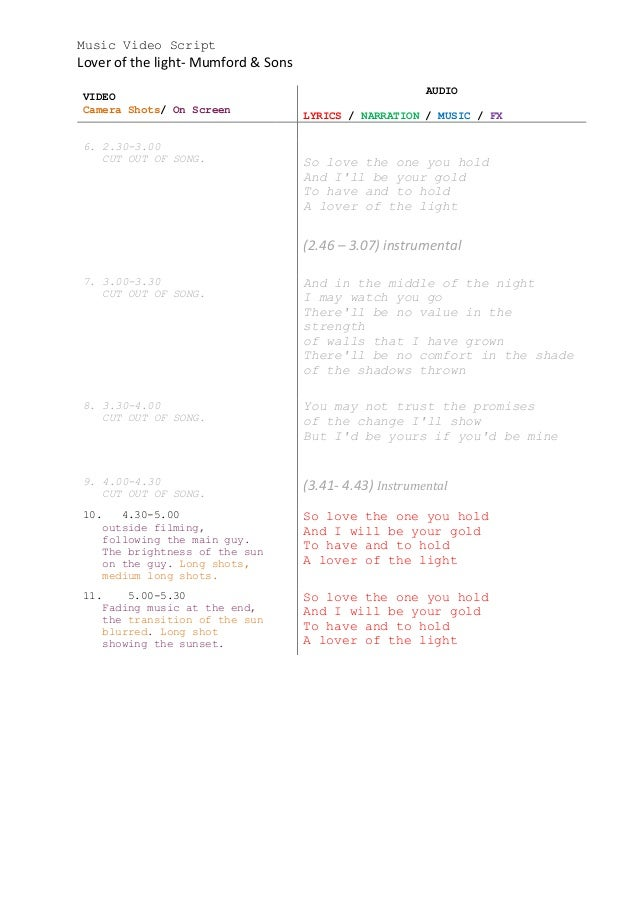 Lyric lover lover lover lyrics : Music video script lover of the light