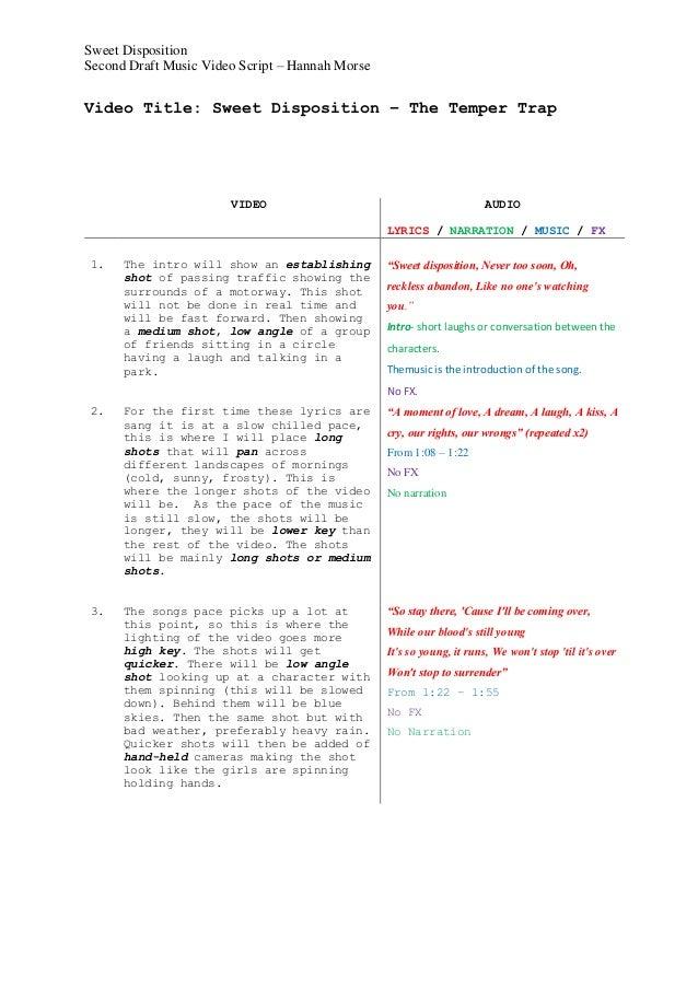 music video script template 2. Black Bedroom Furniture Sets. Home Design Ideas