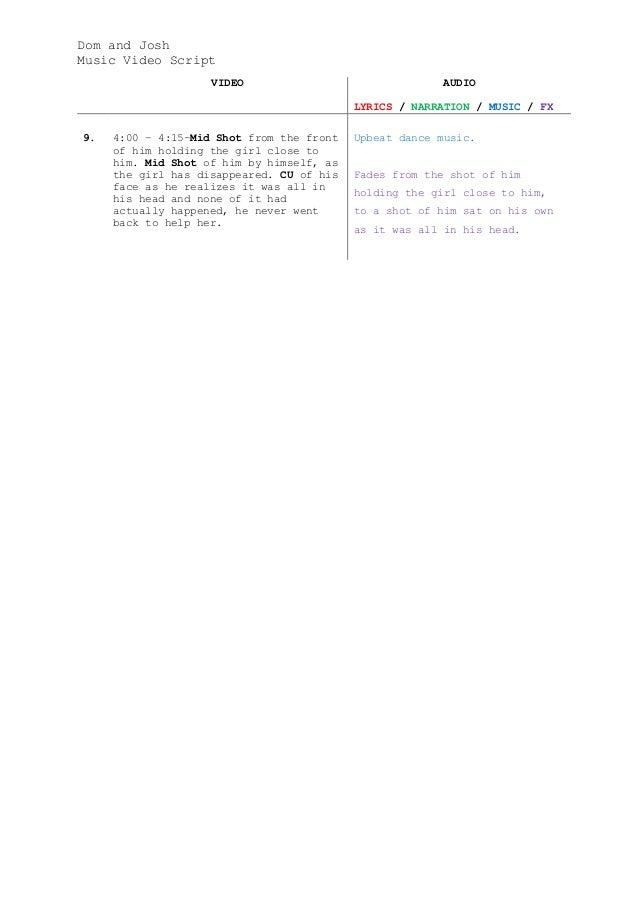 music video script template pdf
