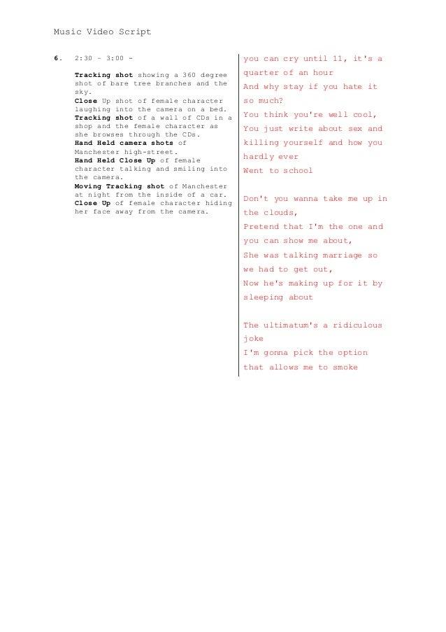 Music video script template a2 media adv portfolio