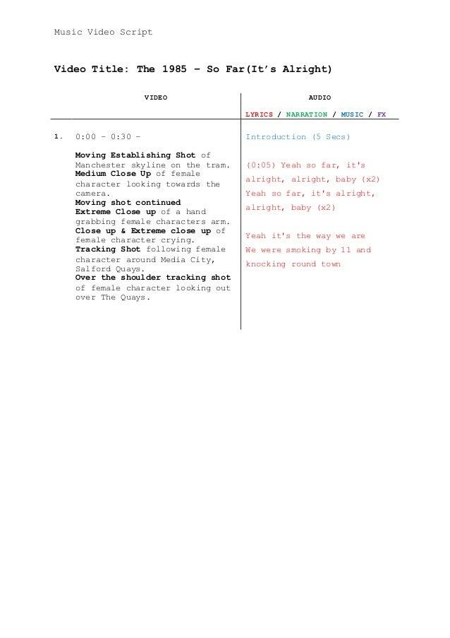 Music video script for Av script template