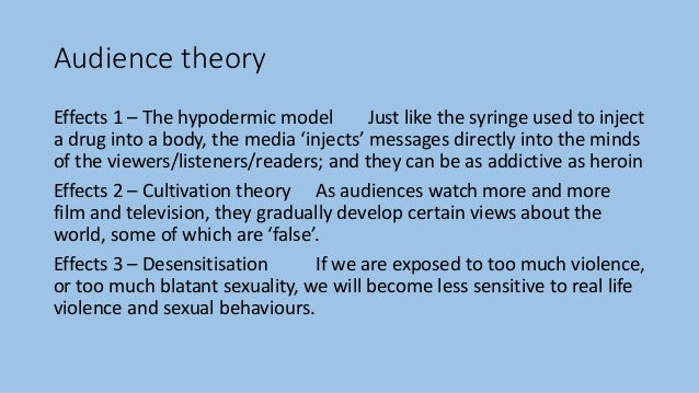 Audience theory Effects 1 – The hypodermic model Just like the syringe used to inject a drug into a body, the media 'injec...