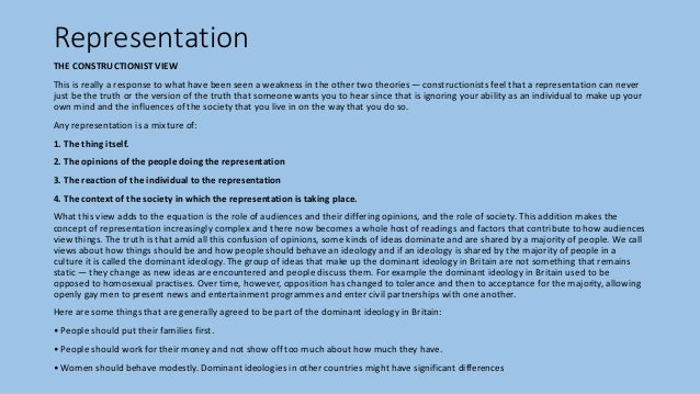 Representation THE CONSTRUCTIONIST VIEW This is really a response to what have been seen a weakness in the other two theor...
