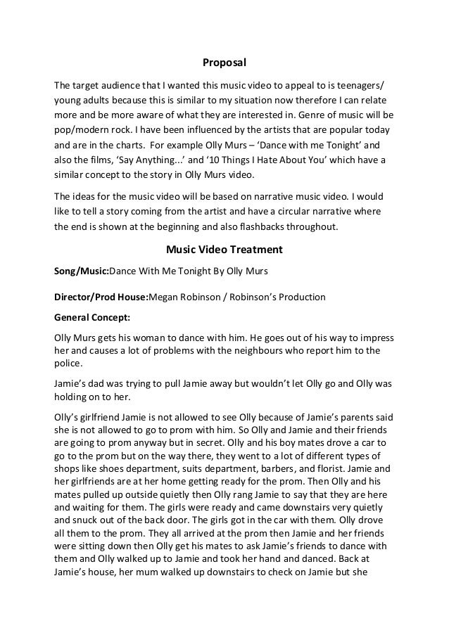 video treatment template - music video treatment