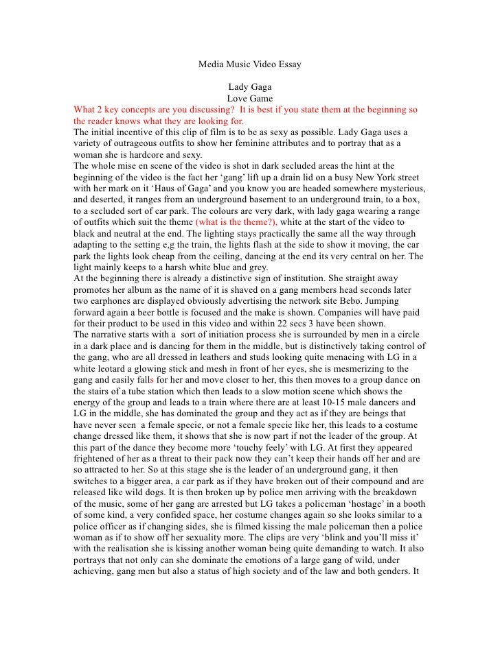 Media Music Video Essay                                             Lady Gaga                                            L...