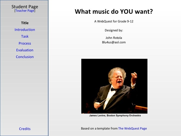 What music do YOU want? Student Page Title Introduction Task Process Evaluation Conclusion Credits [ Teacher Page ] A WebQ...