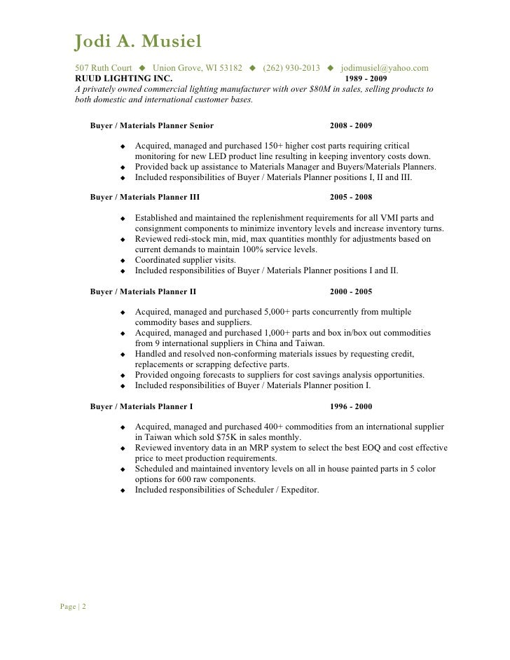 PROFESSIONAL EXPERIENCE Page | 1; 2.  Buyer Resume