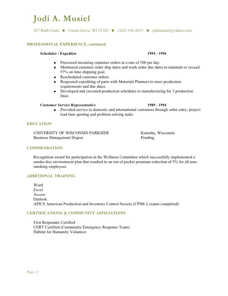 resume for buyer