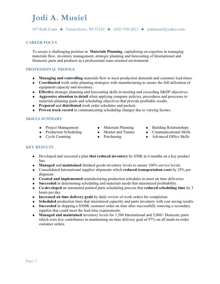Planning Resume Examples production coordinator resume example – Material Planner Job Description