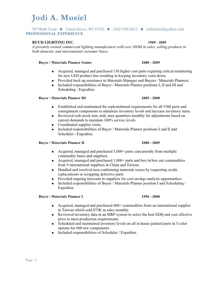 Resume Production Planner Scheduler resume production scheduler – Material Planner Job Description