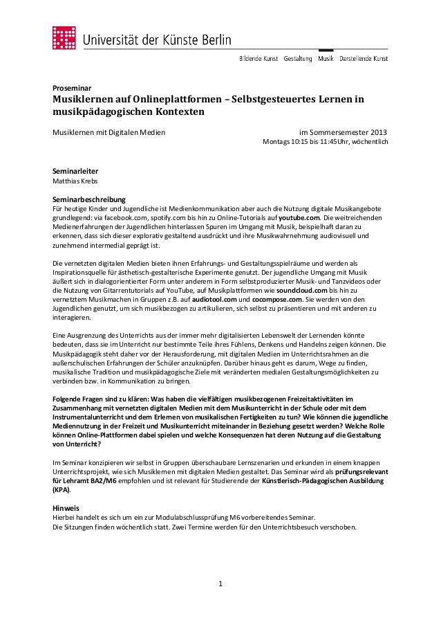 ProseminarMusiklernen auf Onlineplattformen – Selbstgesteuertes Lernen inmusikpädagogischen KontextenMusiklernen mit Digit...