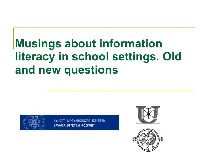 Musings about information literacy in school settings. Old and new questions