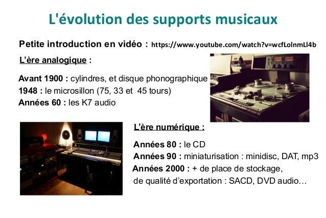 Petite introduction en vidéo : https://www.youtube.com/watch?v=wcfLolnmLl4b L'ère analogique : Avant 1900 : cylindres, et ...