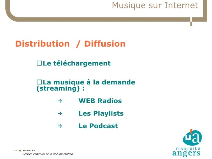 Musique sur Internet    Distribution / Diffusion                ▍Le téléchargement                ▍La musique à la demande...