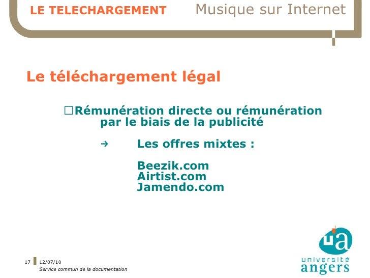 LE TELECHARGEMENT                                 Musique sur Internet    Le téléchargement légal                ▍Rémunéra...