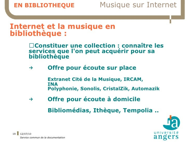 EN BIBLIOTHEQUE                             Musique sur Internet  Internet et la musique en bibliothèque :            ▍Con...