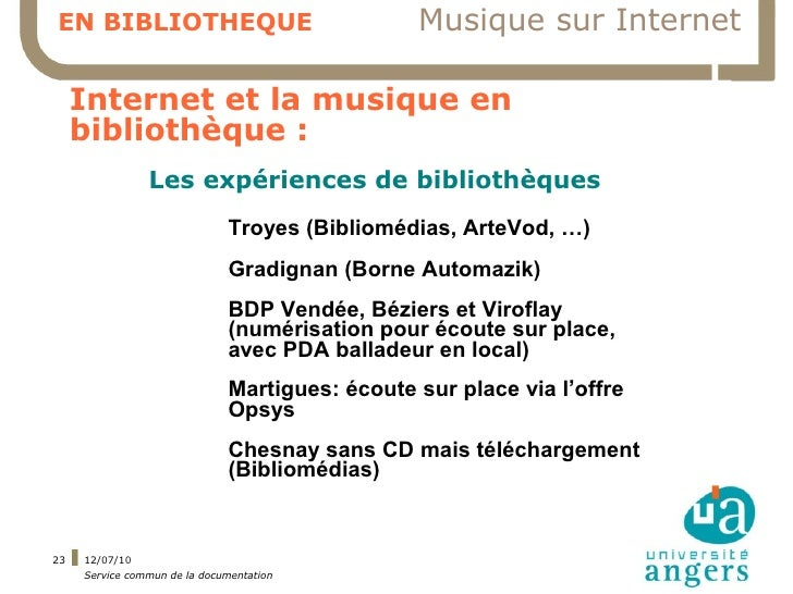 EN BIBLIOTHEQUE                                 Musique sur Internet       Internet et la musique en      bibliothèque :  ...