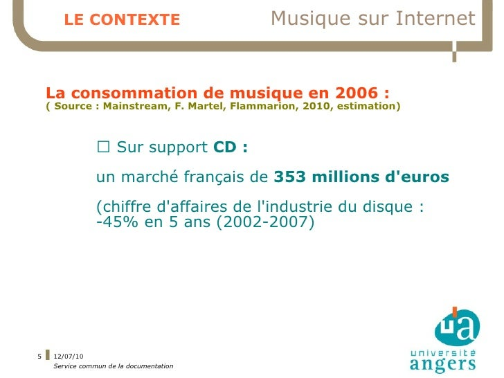 LE CONTEXTE                         Musique sur Internet       La consommation de musique en 2006 :     ( Source : Mainstr...
