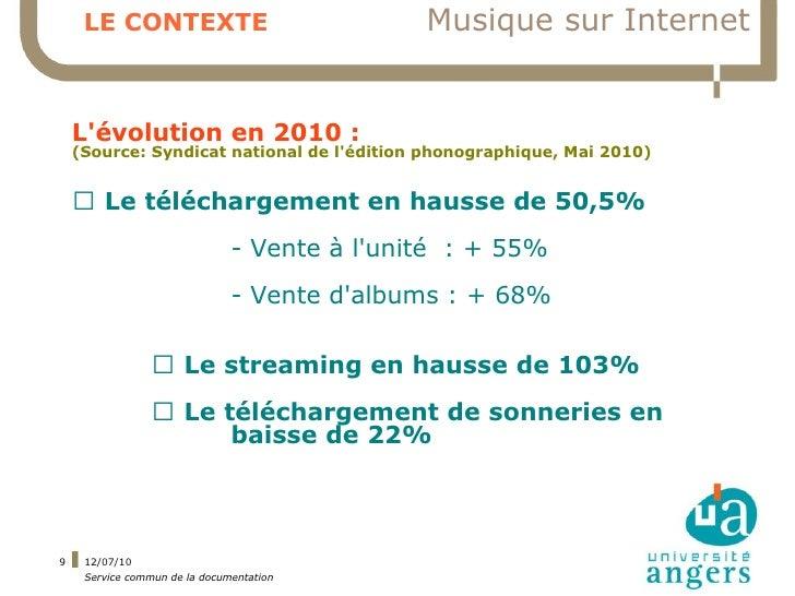 LE CONTEXTE                              Musique sur Internet       L'évolution en 2010 :     (Source: Syndicat national d...