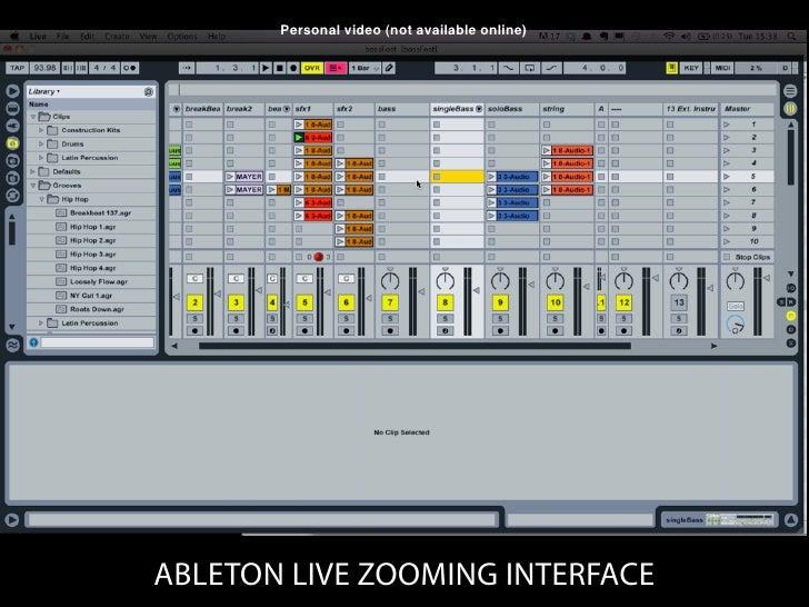 Personal video (not available online)ABLETON LIVE ZOOMING INTERFACE