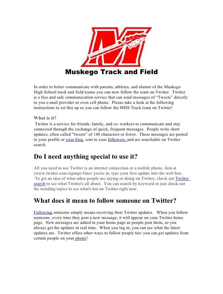 Muskego Track and Field  In order to better communicate with parents, athletes, and alumni of the Muskego High School trac...