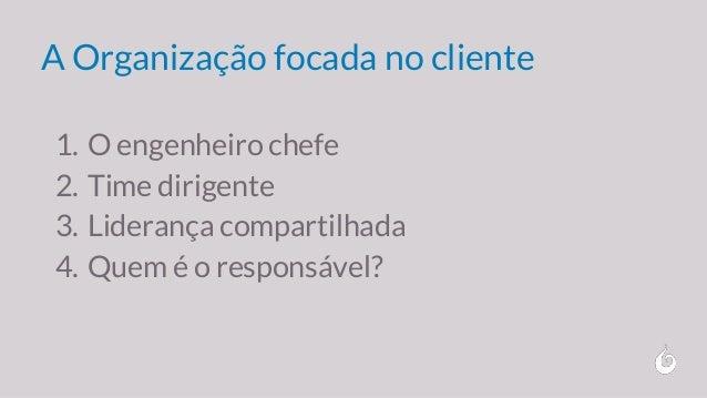 A Organização focada no cliente 1. O engenheiro chefe 2. Time dirigente 3. Liderança compartilhada 4. Quem é o responsável?