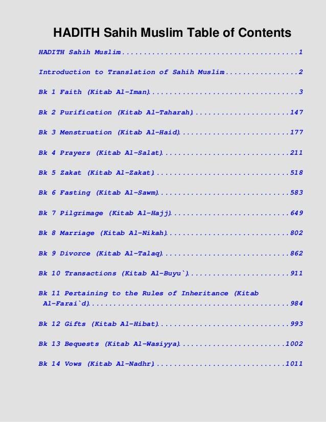 HADITH Sahih Muslim Table of Contents HADITH Sahih Muslim ..........................................1 Introduction to Tran...