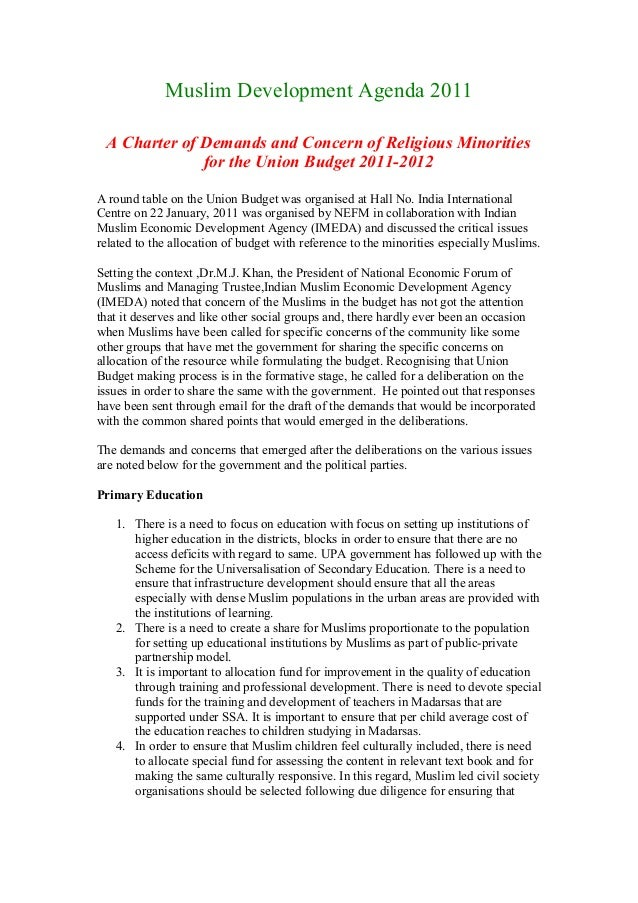 Muslim Development Agenda 2011A Charter of Demands and Concern of Religious Minoritiesfor the Union Budget 2011-2012A roun...